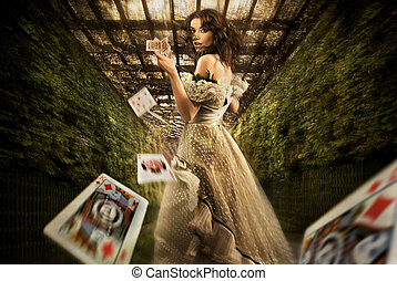 mujer, lanzamiento, juego, tarjetas