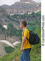 Young Male Hiker - Young male hiking the Mt Timpanogos trail...