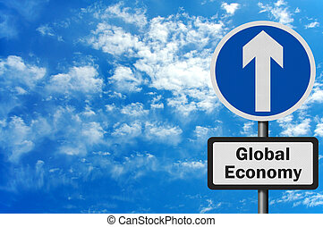 Photo realistic 'global economy growth' sign