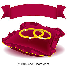 Two ring red pillow