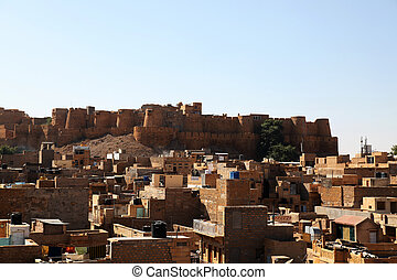 Fort Jaisalmer Rajasthan - view at the walls of the...