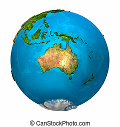 Planet Earth - Australia - colorful globe with detailed and...