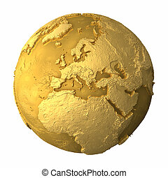 Gold Globe - Europe - Gold globe - metal earth with...
