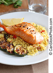 Salmon with couscous - Grilled salmon with couscous and...