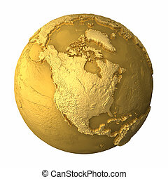 Gold Globe - North America - Gold globe - metal earth with...