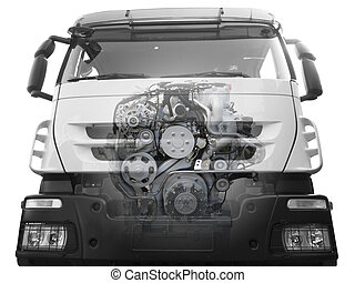 front of truck with a visible engine