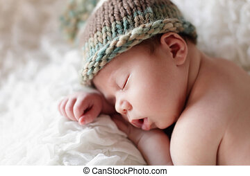 Newborn baby sleeping Soft focus, shallow DoF