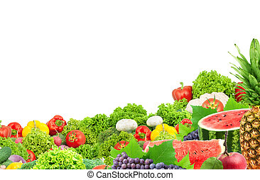 Colorful healthy fresh fruits and vegetables. Shot in a...