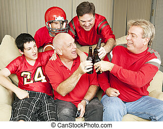 Football Fans Toast Success - Superbowl football fans...