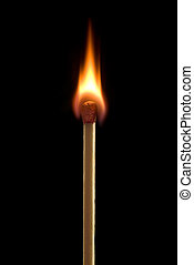 Sharp flame - Bright fire on a black background.