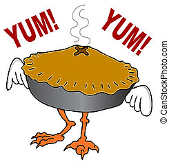 Chicken Pot Pie - An image of a chicken pot pie cartoon...