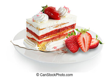 Strawberry Cake - Extreme close-up image of delicious...