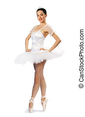 girl in tutu 4 - White girl in tutu on a white background