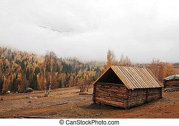 Wooden hut in autumn