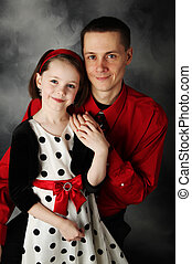 Daddy and daughter dressed up - Portrait of adorable little...