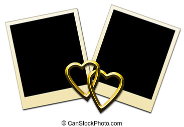 Photo Frames - Blank Photo Frames With Golden Hearts -...