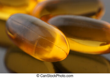 Capsules of fish oil close-up