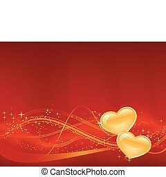 Red background with wavy pattern, dots, stars and two golden...