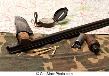 The hunting still-life - Subjects of the hunting ammunition...