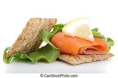 Smoked Salmon Snack - Close-up of smoked salmon served with...