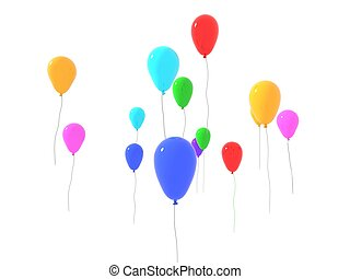 one released colored balloons on white background