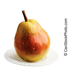 Pear on a white plate, isolated