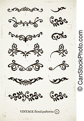 set of vintage decorative patterns on grunge backgound...