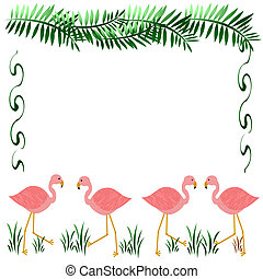 pink flamingos scrapbook - pink flamingos on white with palm...