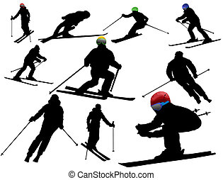 Skiing silhouettes - Vector collection of isolated alpine...