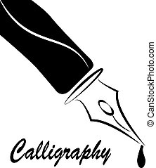 nib calligraphy - illustration of stylized nib in black...