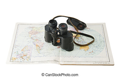 old commander's binoculars with a map - old binoculars...