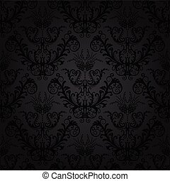 Luxury charcoal floral wallpaper This image is a vector...