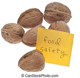 Food Safety Reminder with Fresh Walnuts Isolated on White...