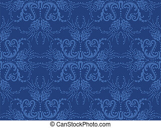 Seamless blue floral wallpaper. This image is a vector...