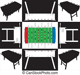 Table Football And Soccer Base And Face Vector