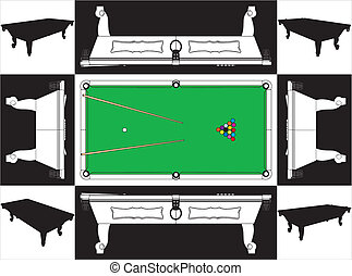 Billiards Snooker Table Base And Face Vector