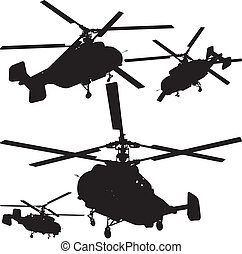 Helicopter Perspective Silhouettes Vector