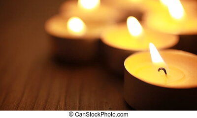 tea lights - focus on nearest part