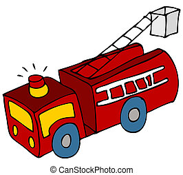 Fire Truck - An image of a cartoon fire engine truck