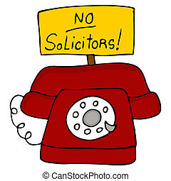 No Solicitors Telephone - An image of a telephone with a no...