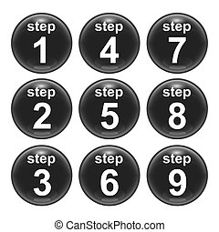 step - A set of glossy web icons step 1 to 9