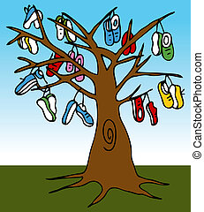 Shoe Tree - An image of a tree with many shoes hanging from...