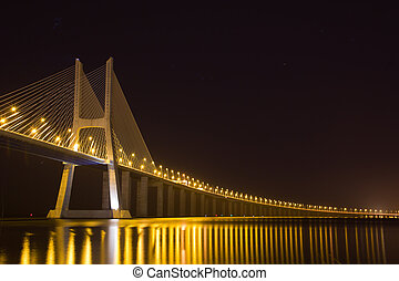 Vasco da Gama bridge at night - Vasco da Gama bridge on...
