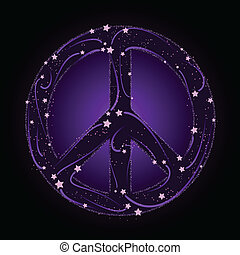 Shooting star peace sign - Peace sign composed of shooting...