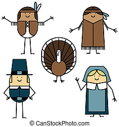Thanksgiving characters - Pilgrims, Native Americans and...