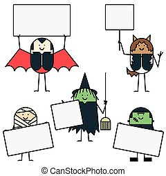 Halloween characters with signs - Five costumed Halloween...