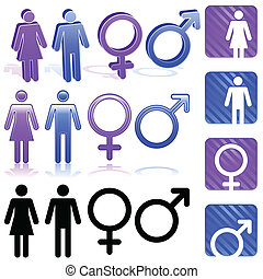 Gender icons - Set of gender icons in three different styles