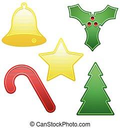 Five shiny Christmas icons
