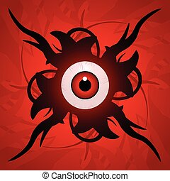 Eyeball with tentacles - Creepy surreal eyeball in the...