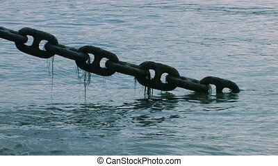 Large rusty chain covered with algae in the sea, Canon XH...